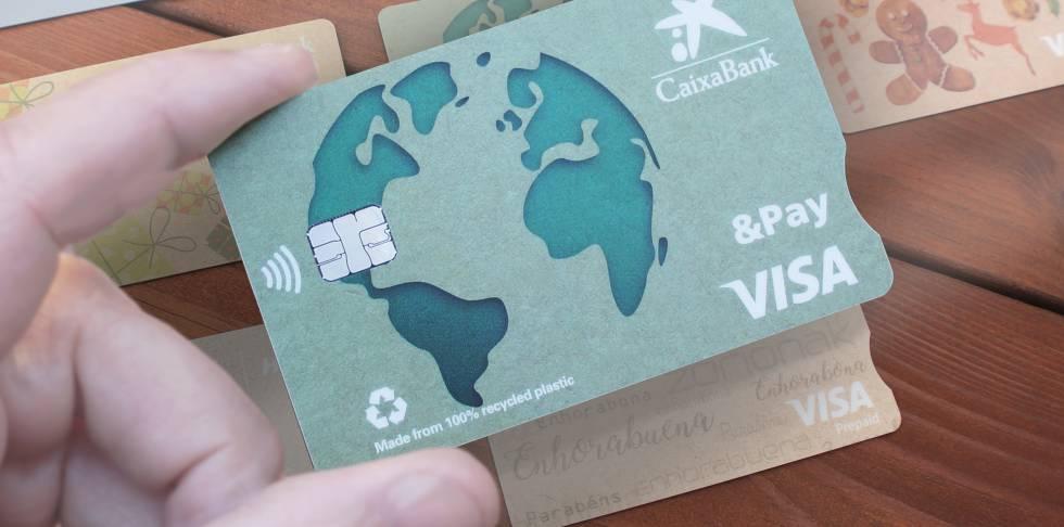 Karta wykonana z materiałów pochodzących z recyklingu CaixaBank.