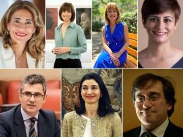 Raquel Sanchez, Diana Morant, Pilar Alegria, Isabel Rodriguez, Felix Bolanos, Pilar Llop and Jose Manuel Albares